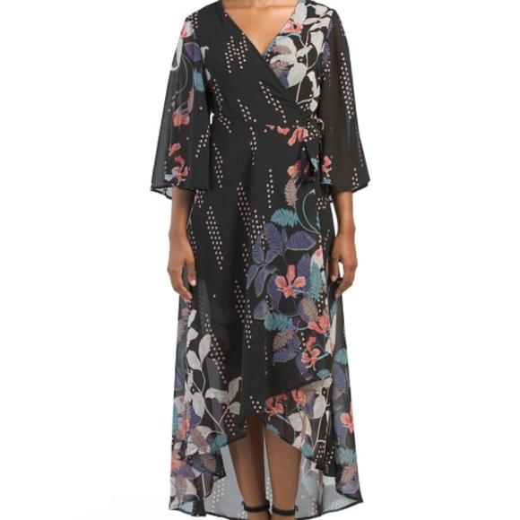 f169b3d3b68490 Japna Dresses   Nwt Kimono Sleeve Printed Wrap Maxi Sz M   Poshmark